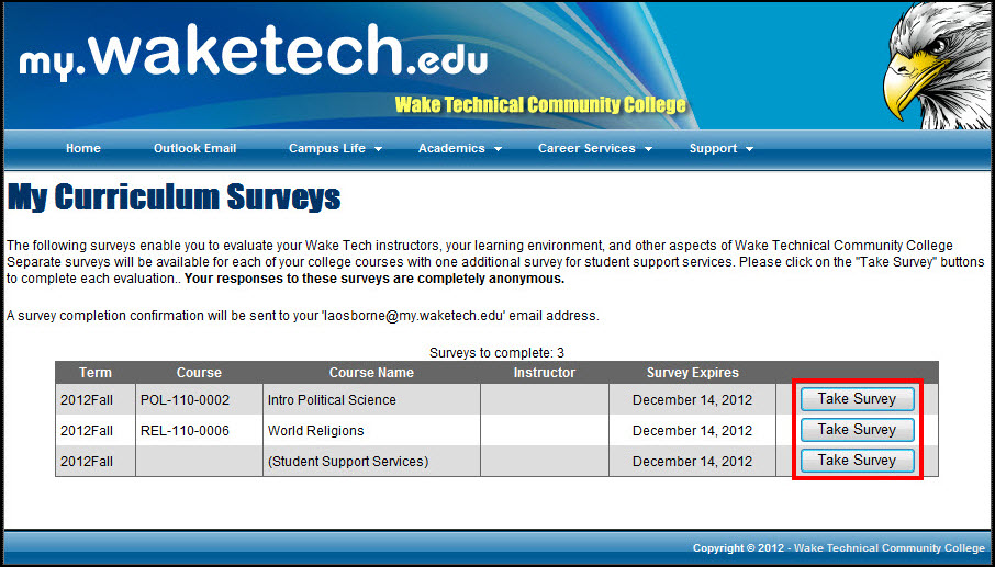 Surveys to be completed screen